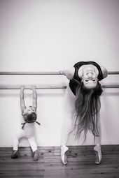 Mother and daughter dancing ballet